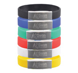 Silicone Wrist Band with Metal Plate